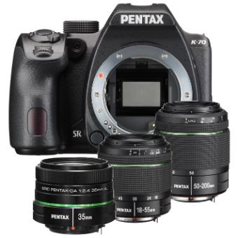Pentax K-70 DSLR Body + DA18-55mm Lens+DA50-200mm Lens + DA 35mm f2.4 Lens